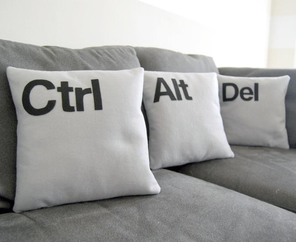 Home office, Lobby, Techie home, Ctrl, Alt, Del Pillows, Typography products, Type in design.