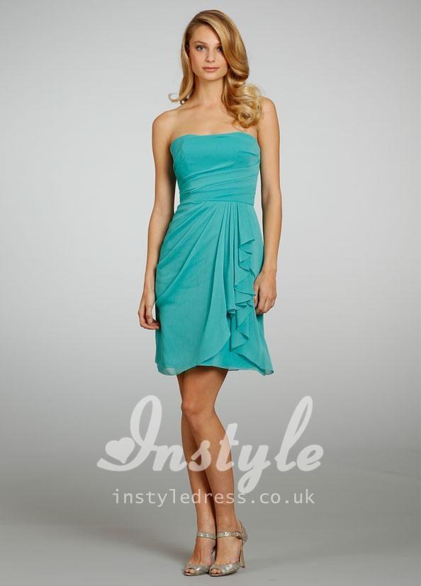 cute turquoise chiffon sleeveless a line short ruffle cascade draped ...