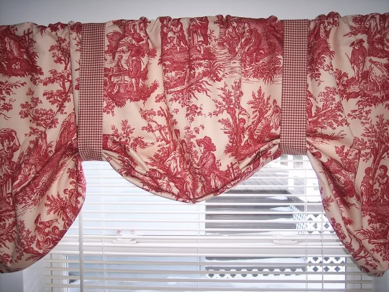 L K Red On Cream Waverly Country Life Toile Lined Tie Up Swag Valance Valance Curtains Curtains For Sale