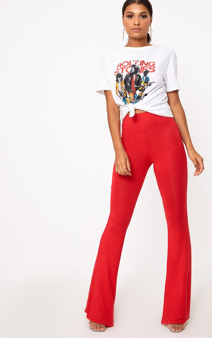 5cd6eedd57c40d Trouser Outfits, Red Trousers Outfit, Red Pants, Women's Trousers, Red Flare ,