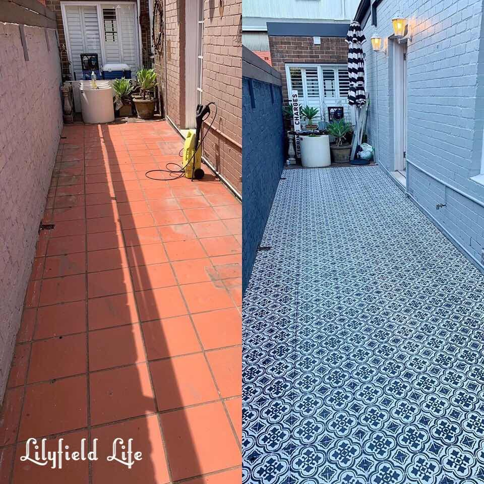 Lilyfield Life Diy Tile Stencil Furniture Patio Tiles