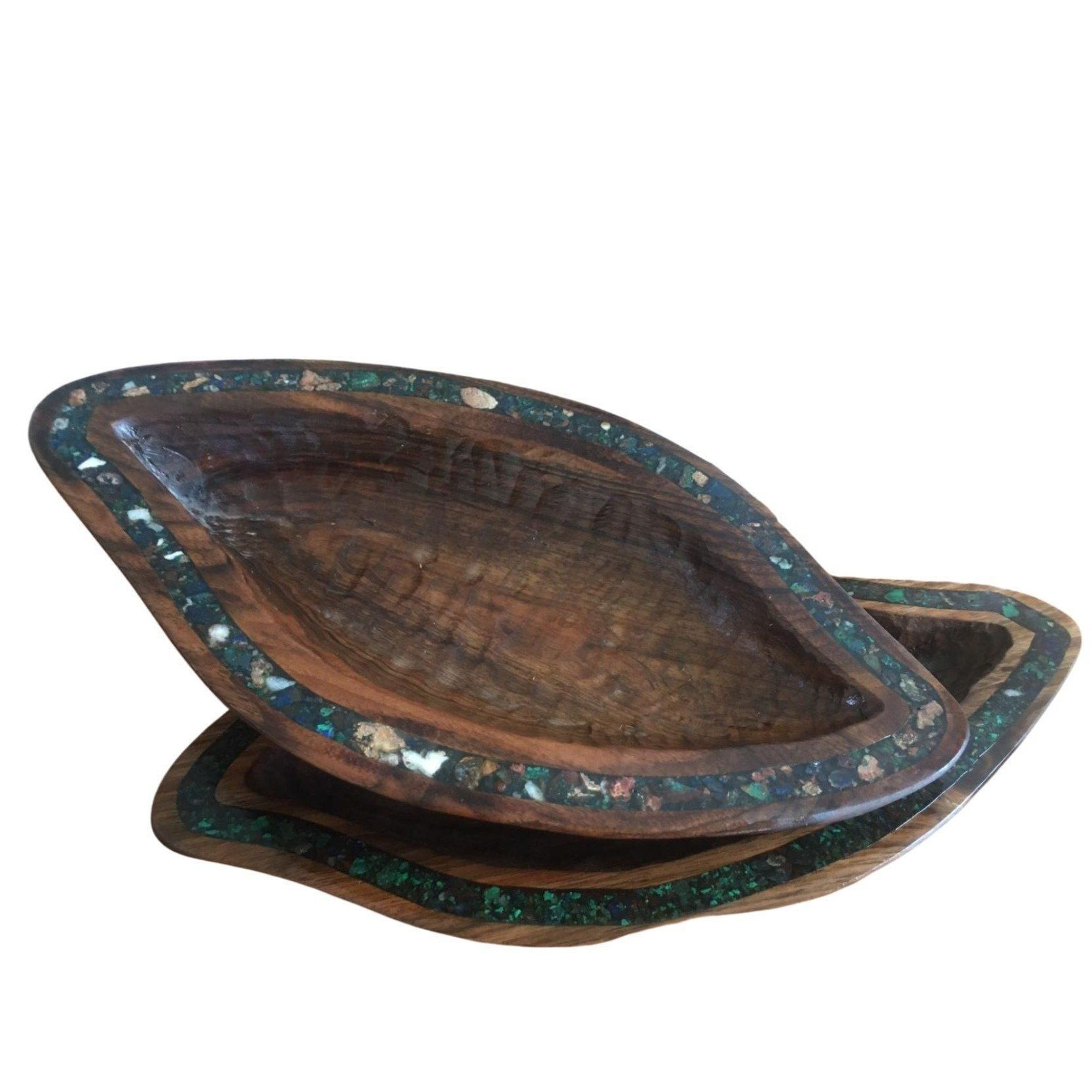 Photo of Small Walnut & Gemstone Moroccan Bowl – Eve Branson Foundation Collection – Round [damaged, discounted]