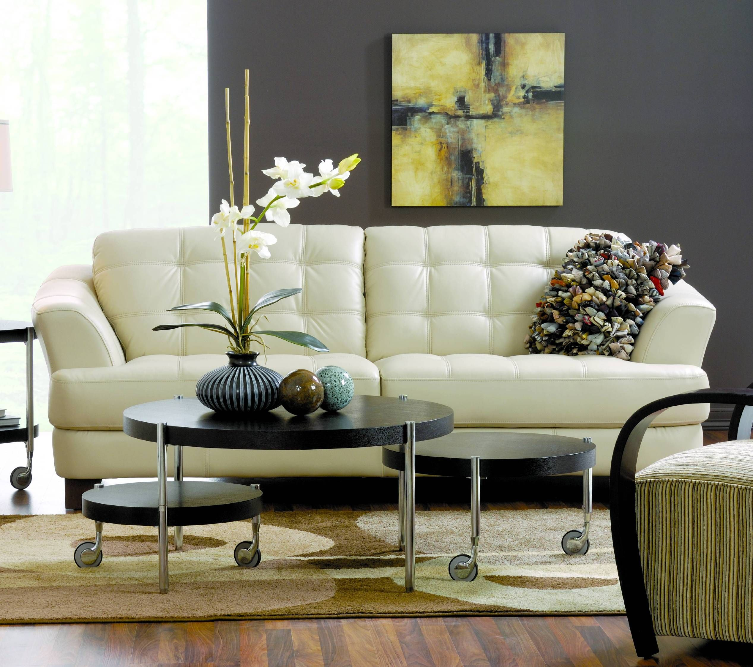 Room Delray Taupe Leather Sofa
