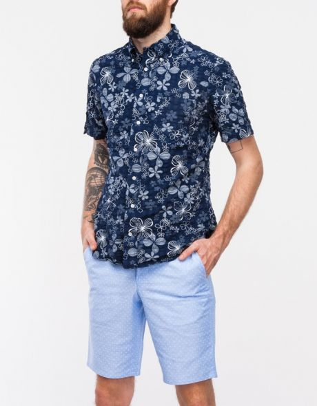 Navy blue short sleeve button down with white floral print | With ...