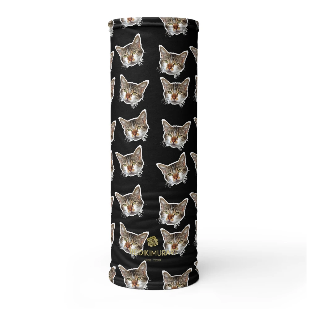 Black Cat Print Face Shield, Neck Gaiter Warmer, Bandana