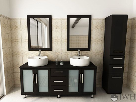 Jwh Living Double Lune Double 59 Inch Espresso Modern Bathroom