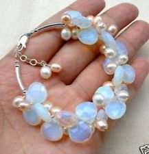 Blue Fire Opal and Fresh Water Pearl Cluster Bracele DF0K6