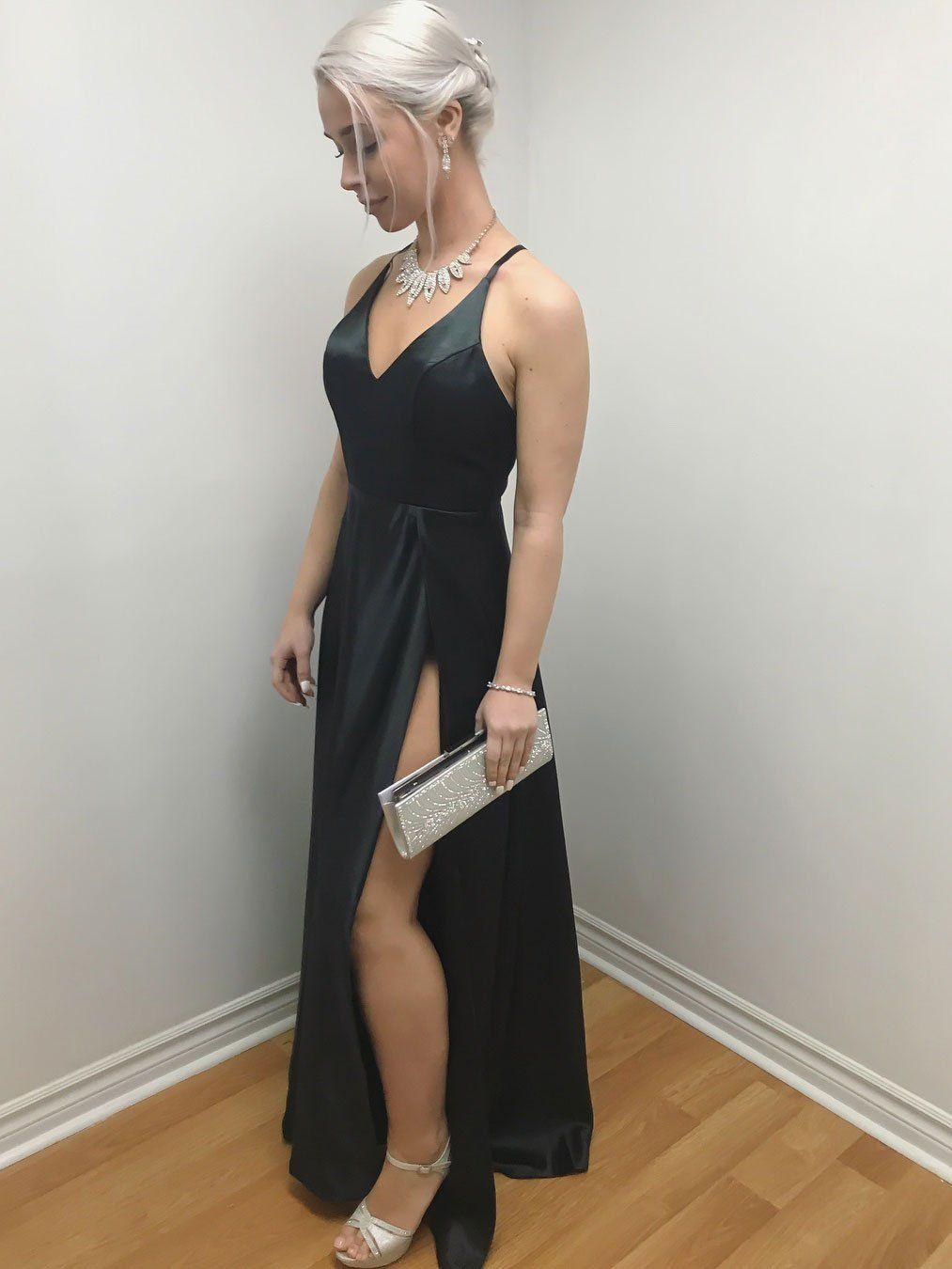 Simple satin spaghetti straps neckline aline prom dresses with slit