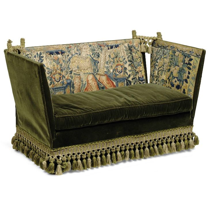 Antique Tapestry Sofa: A SMALL KNOLE SOFA EARLY 20TH CENTURY, APPLIED WITH 17TH