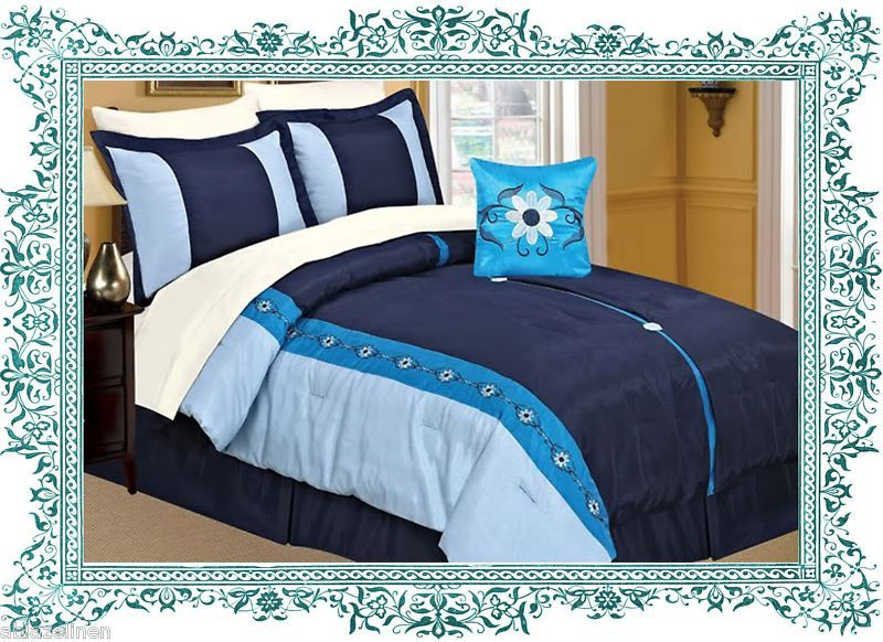 blue Comforter Sets | 8PC Vanessa Blue Comforter Set w/ 3PC Bed Sheet Queen