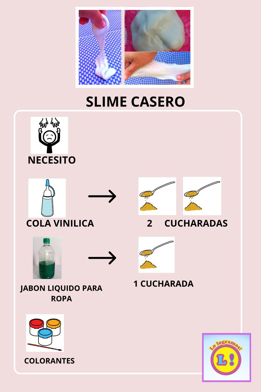 Slime Casero Receta Con Pictogramas Recetas Slime Casero Sin Borax Slime Receta
