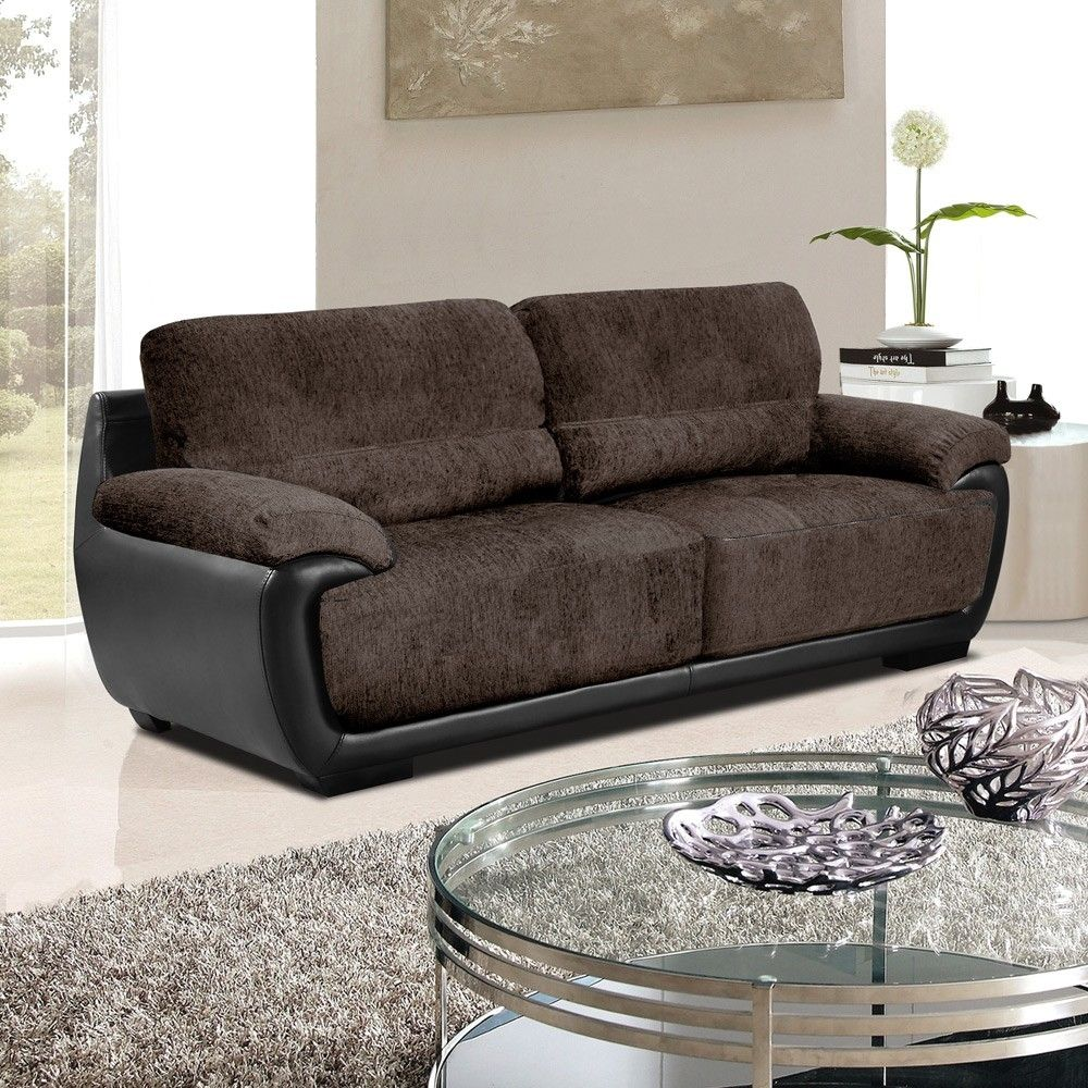 Black Leather And Material Sofas