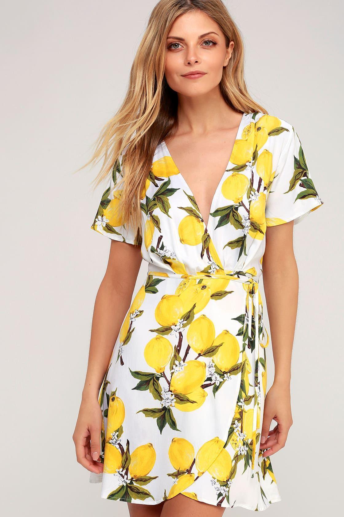 A La Tart White And Yellow Lemon Print Wrap Dress Lemon Print Dress Wrap Dress Printed Wrap Dresses [ 1680 x 1120 Pixel ]