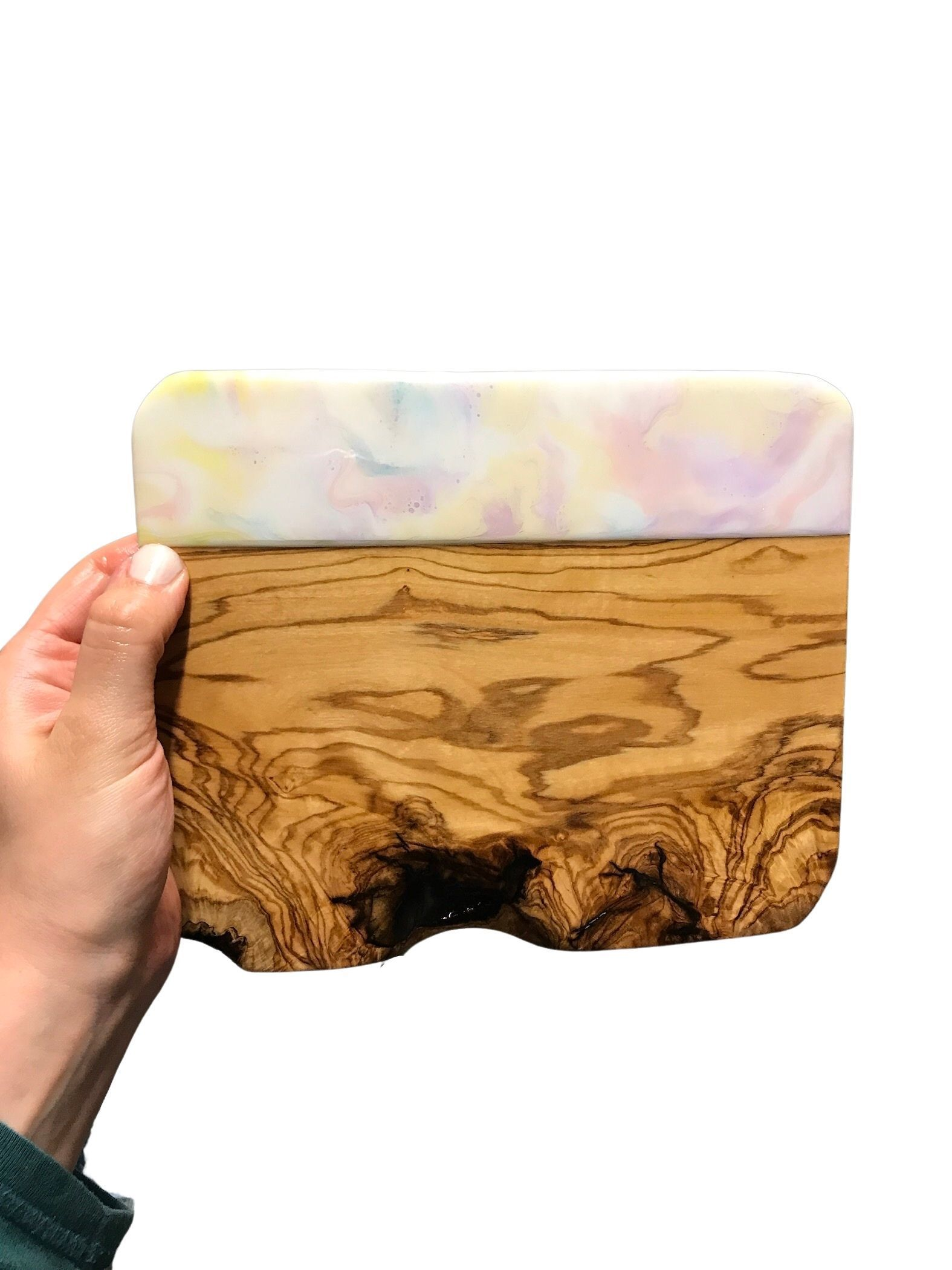 Tapas Board with Pastel Resin Art 20cm - Pastels Home Decor