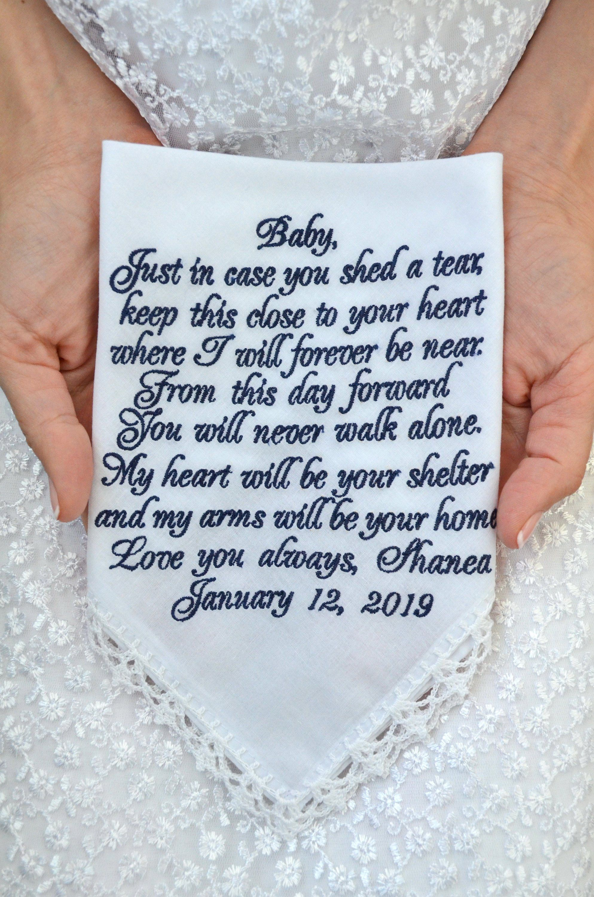 Groom Gifts From Bride Grooms Gift Handkerchief Wedding Vows Etsy Wedding Gifts For Bride Wedding Gifts For Groom Bride And Groom Gifts