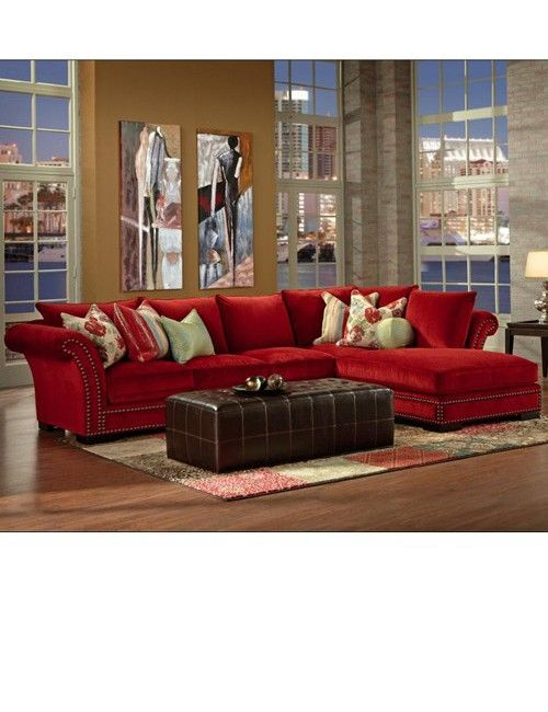 Red sectional sofa with chaise | Red sectional sofa ...