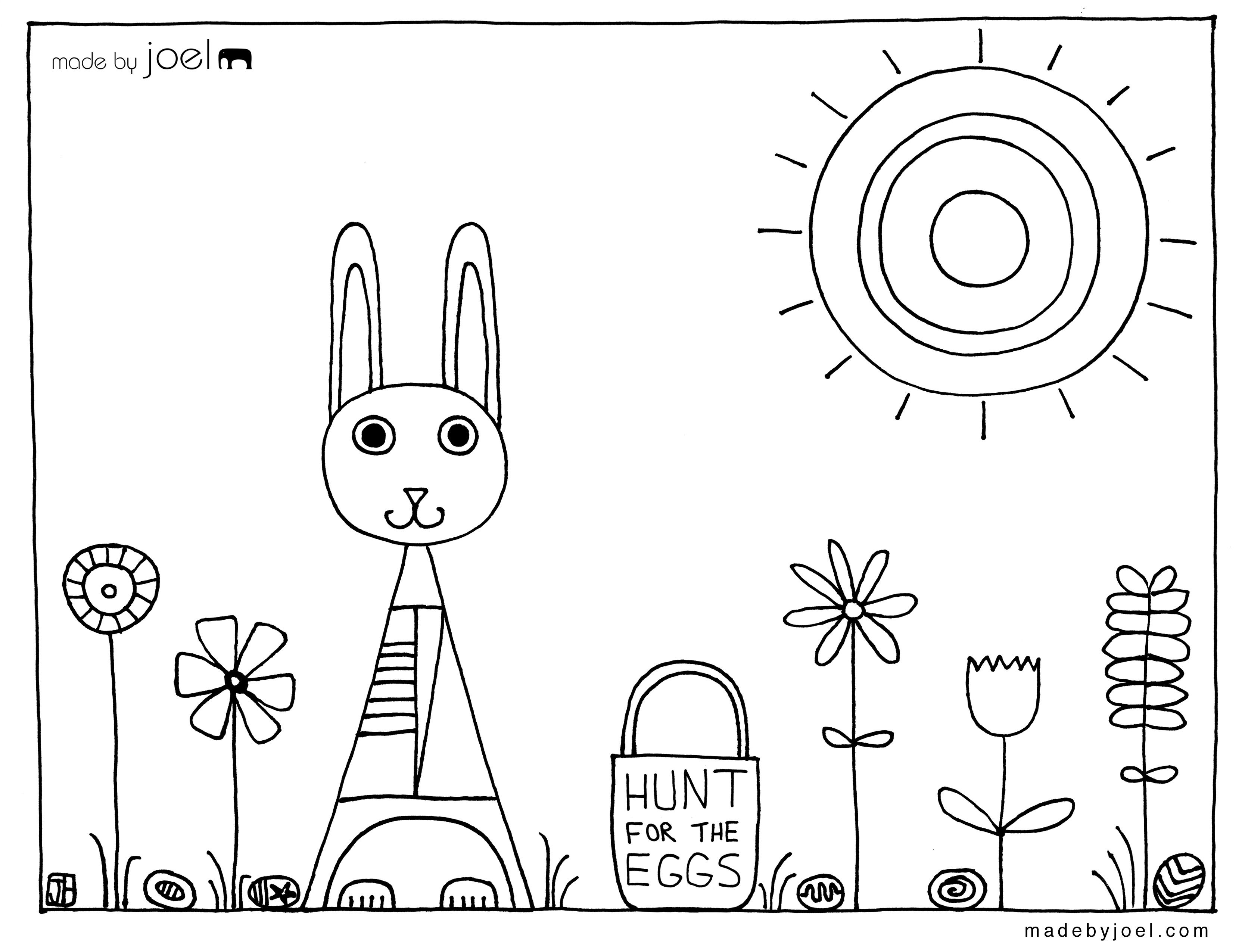 Made By Joel Easter Coloring Sheet Hunt For The Eggs Easter Coloring Sheets Easter Coloring Pages Easter Colouring