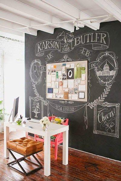 Deco Ideas Para Decorar Con Pizarras Y Pizarrones Creative Workspace Chalkboard Wall Decor