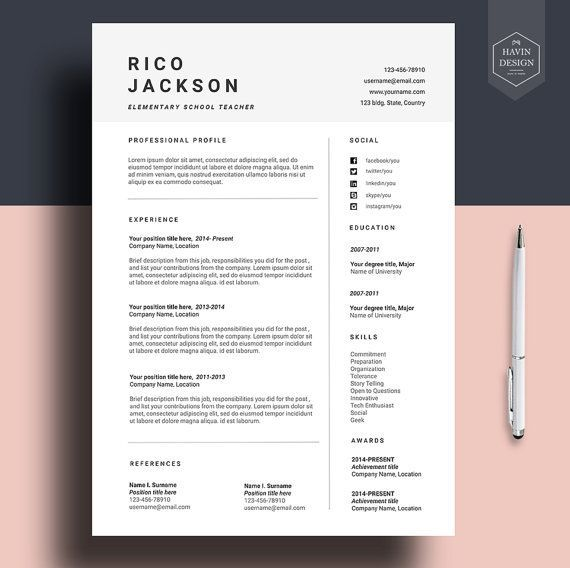 Resume Template For Ms Word CV With FREE Cover Letter Professional Cv Design Creative Simple Modern Teacher