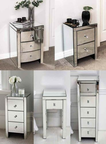 Mirrored Bedside Table With Drawers: Mirrored Glass Bedside Drawers Table 2 3 5 Drawer Bedroom