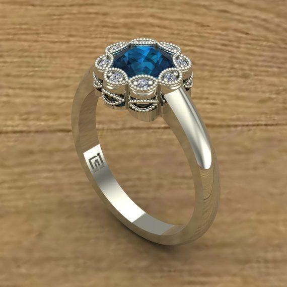 6fe36ce673ddb8 London Blue Topaz Ring - Flower with Diamonds and Milgrain - Bezel Flower - 14k  White Gold - An Orig