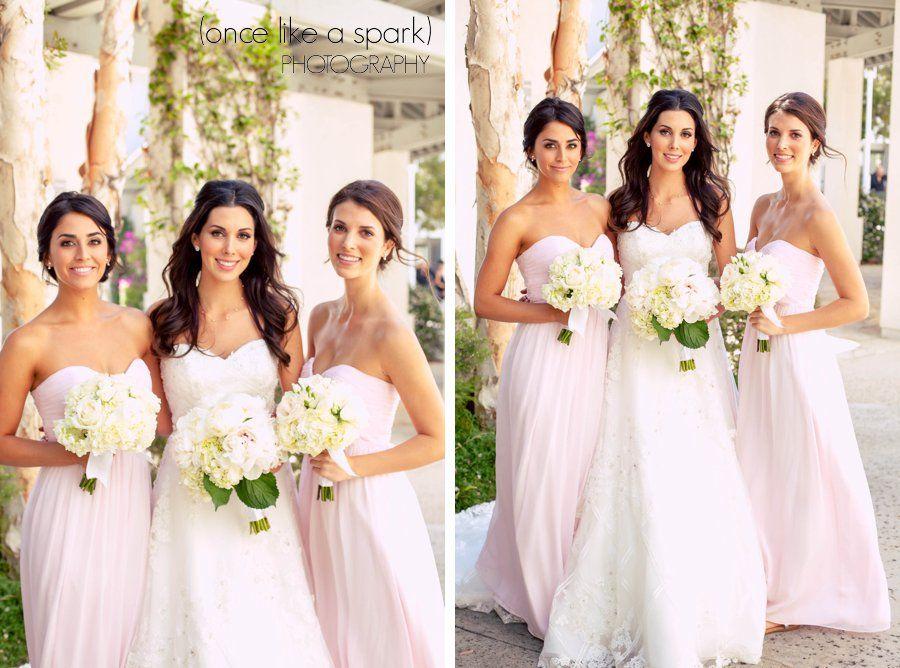 Blush pink, Bridesmaids dress, floor length bridesmaid