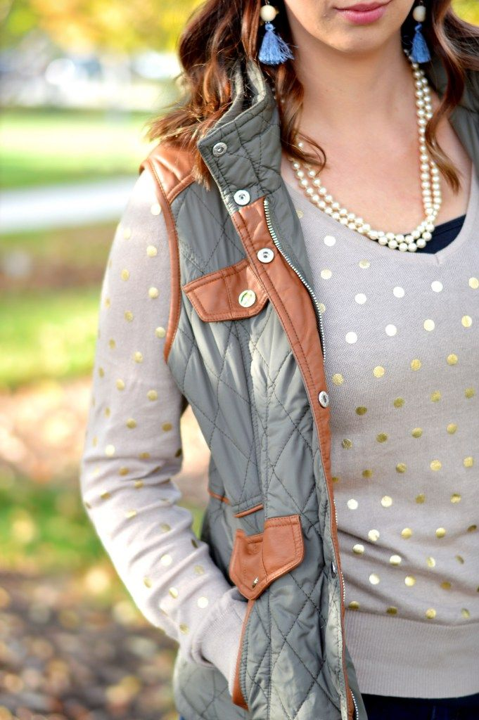Fall Outfit Inspiration featuring a cozy golden Lauren Conrad Sweater from ThredUp and paired with a military puffer vest from Mint Julep. Dressed up with pearls and tassel earrings, this outfit is great for those cool fall days. Get the complete outfit details here // Hey There, Chelsie