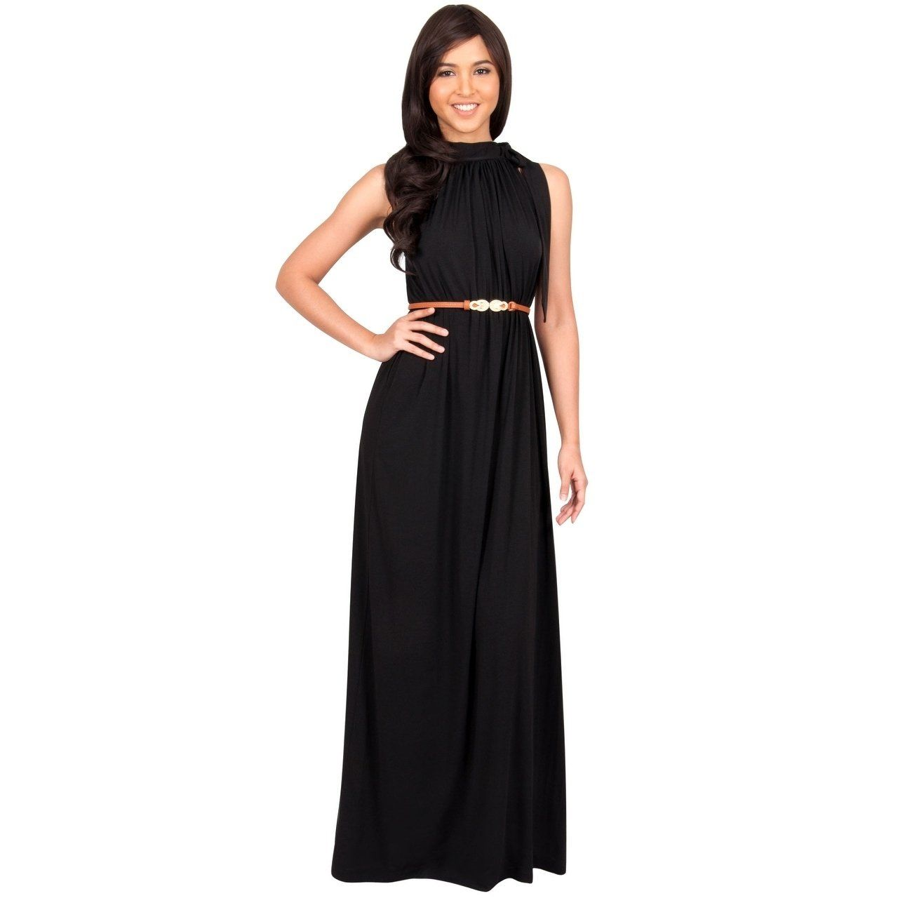 9932fb020e KOH KOH Womens Long Prom Formal Bridesmaid Belt Flowy Gown Maxi Dress  (Black - L) - Large (polyester)