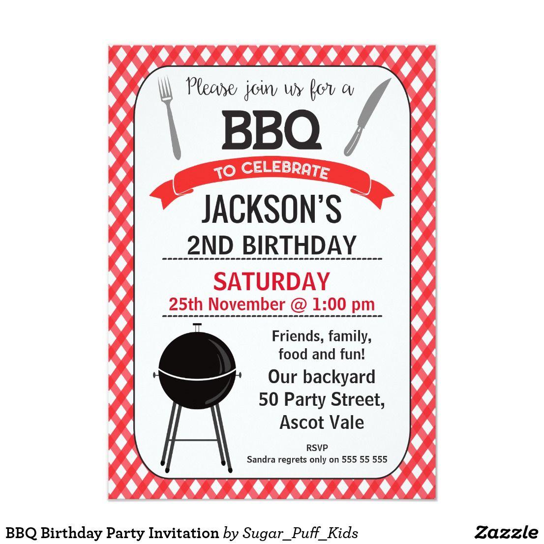 BBQ Birthday Party Invitation | Party invitations and Birthdays