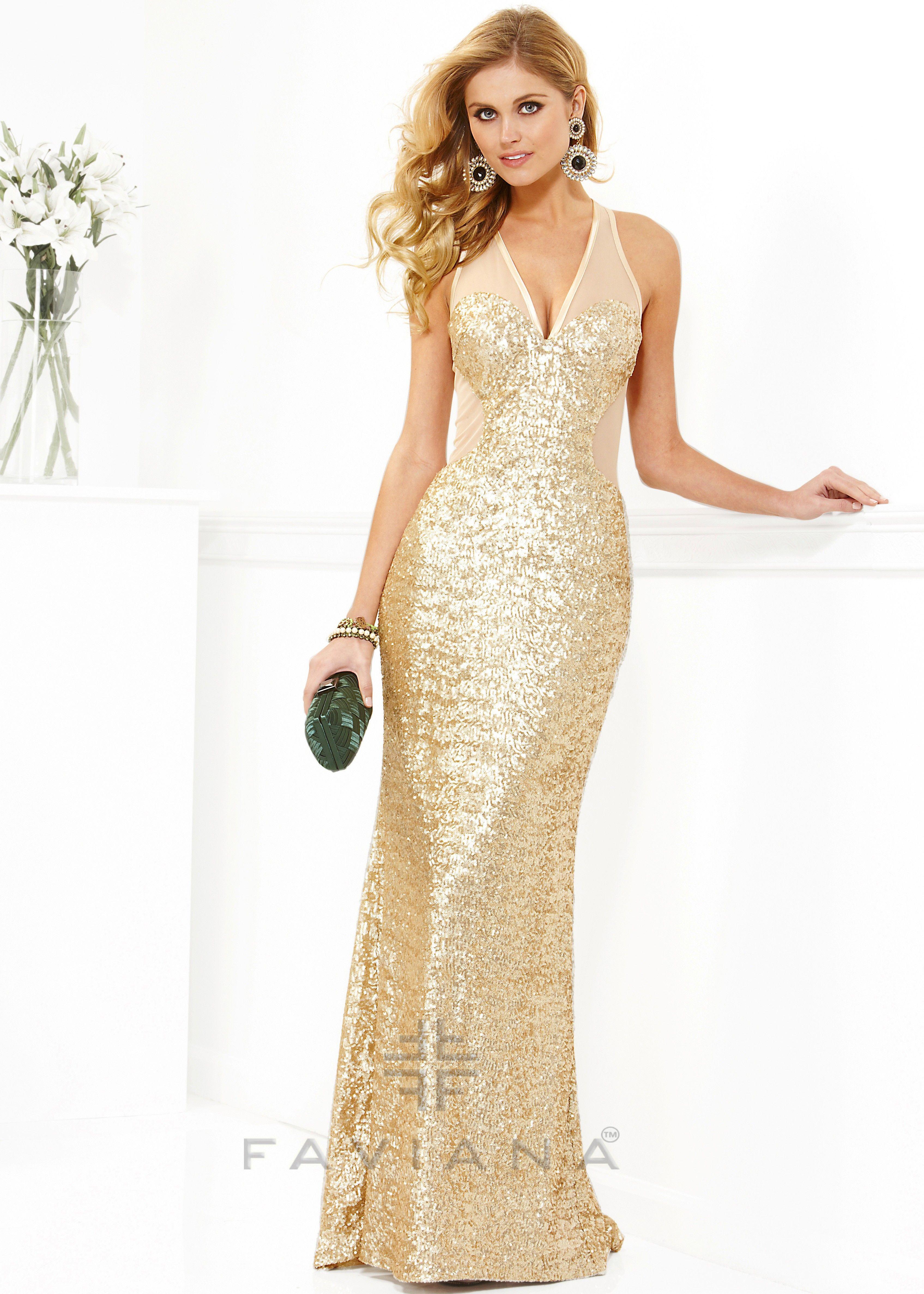 Faviana 7104 - Gold Sequin Dress, 2013 Prom Dresses - RissyRoos.com ...