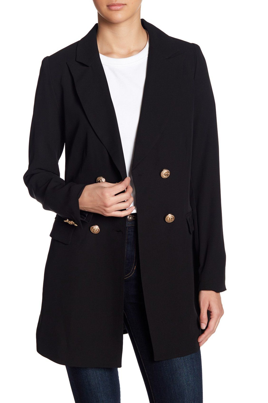 Classic Romeo   Juliet Couture Double Breasted Notch Collar Coat ... 26d49228ec176