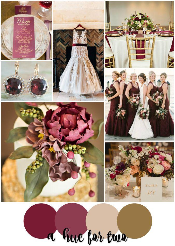 Wine Inspired Wedding Burgundy Bordeaux Marsala Cream And Gold Colour Scheme