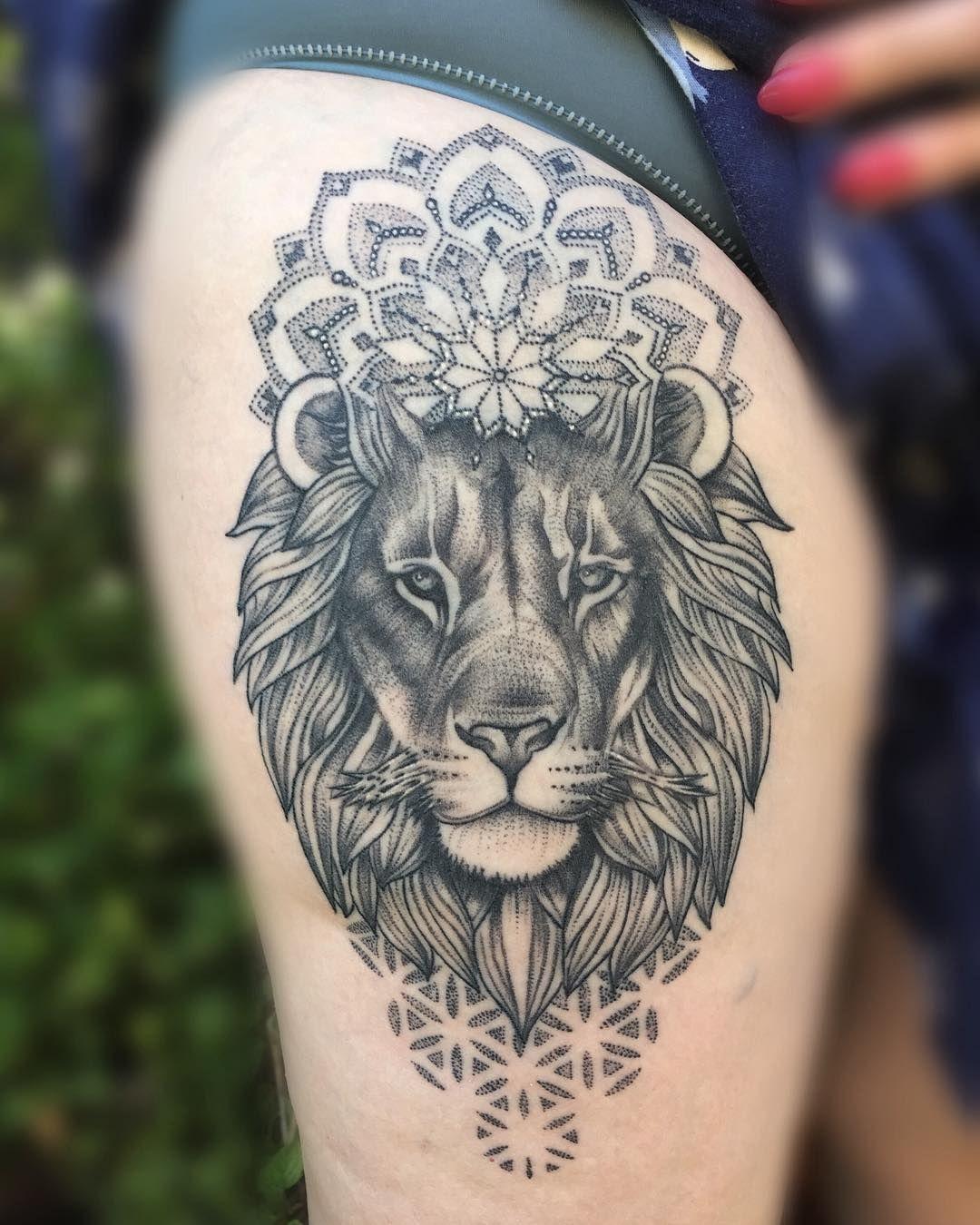 ec32730d2abd4 1 month healed 🌿 More animals please ! 🦁 #miletune Mandala Lion Tattoo,  Butterfly