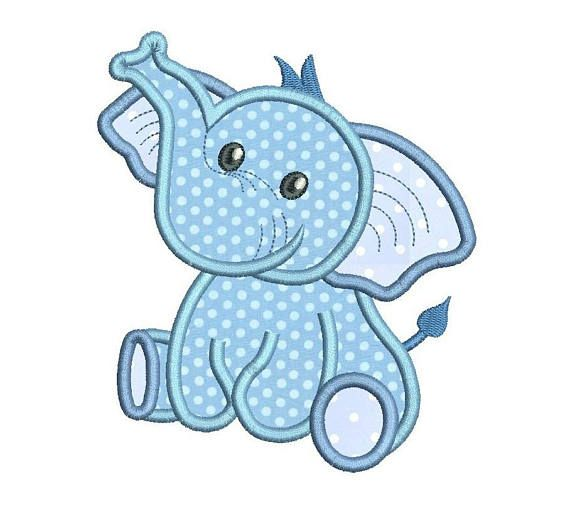 Baby Boy Elephant Applique Machine Embroidery Design, Cute Elephant ...