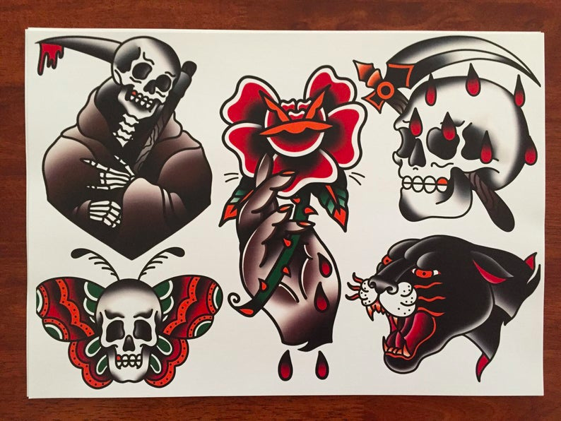 Traditional Skull Tattoo flash | Traditional tattoo flash ...