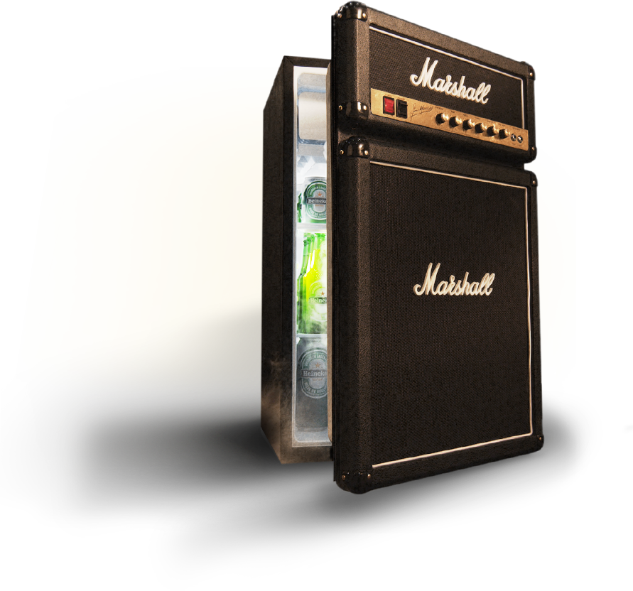 From the main stage to the man cave, the Marshall Fridge was born to rock.  The Marshall Compact Fridge features authentic Marshall Amp parts including  logo