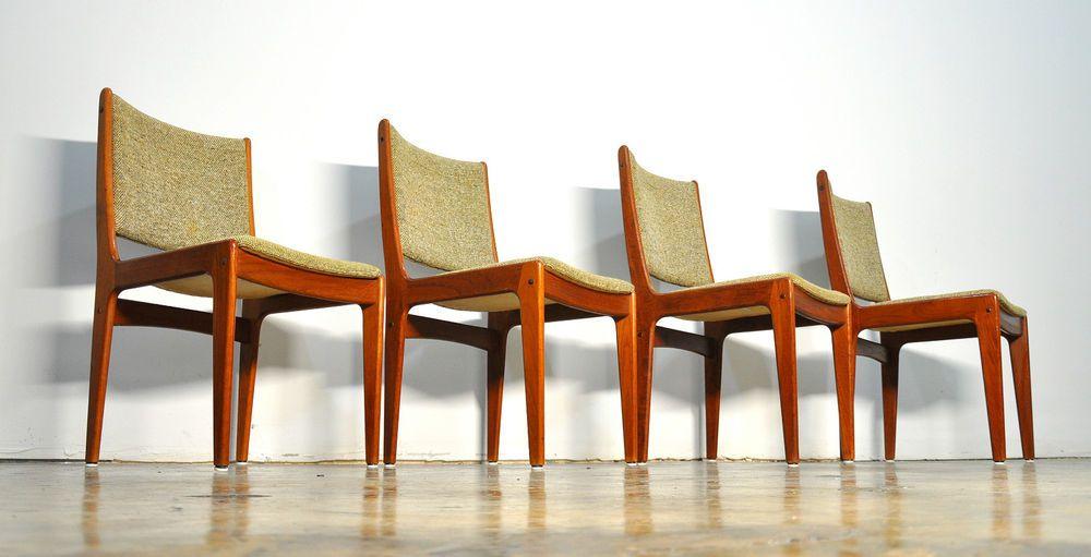 Set Four Danish Modern Teak Dining Chairs Scandinavia Woodworks