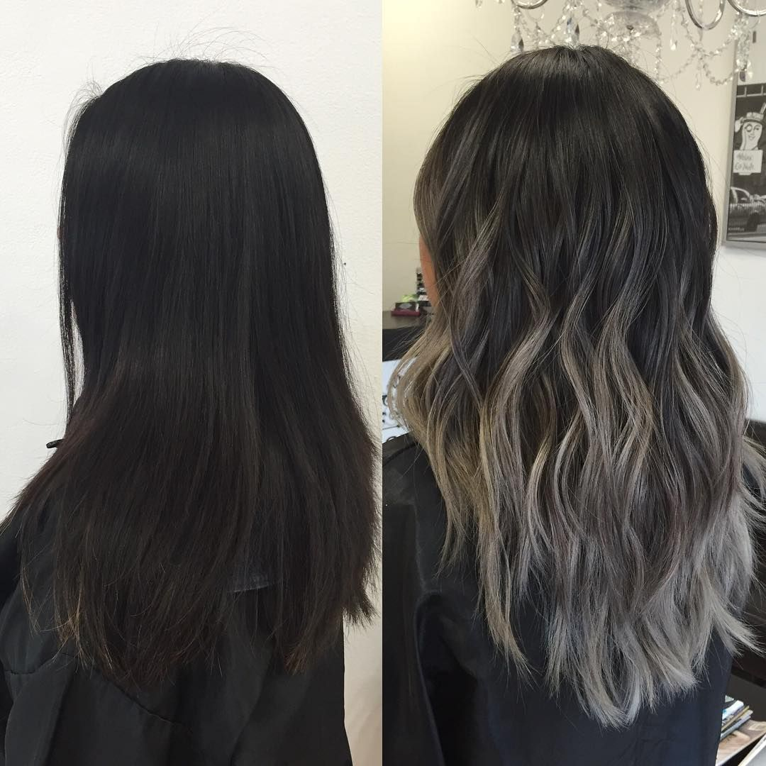1 447 Likes 46 Comments Ky Color Ista Kycolor On Instagram From Almost All Virgin Black Hair To An A Short Hair Balayage Black Hair Ombre Ashy Hair