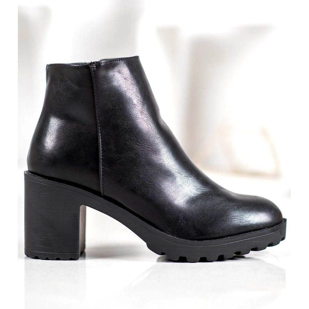 Shelovet Czarne Botki Na Platformie Ankle Boot Boots Shoes