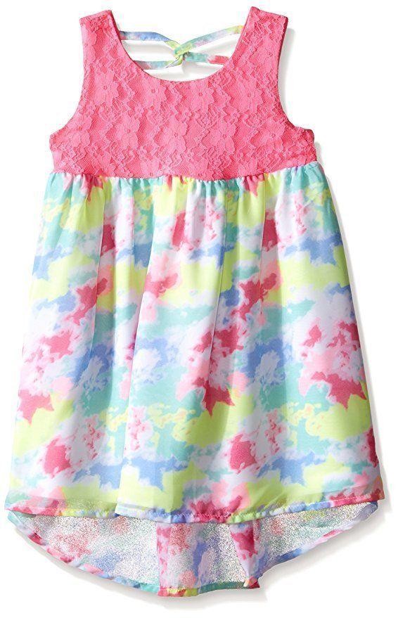 96b88fdda NWT Girls BONNIE JEAN Crochet Lace Printed Chiffon Hi-Low Dress Size 6x  Party #BonnieJean #HighLowChiffon #BirthdayPartyDressyEverydayHolidayParty