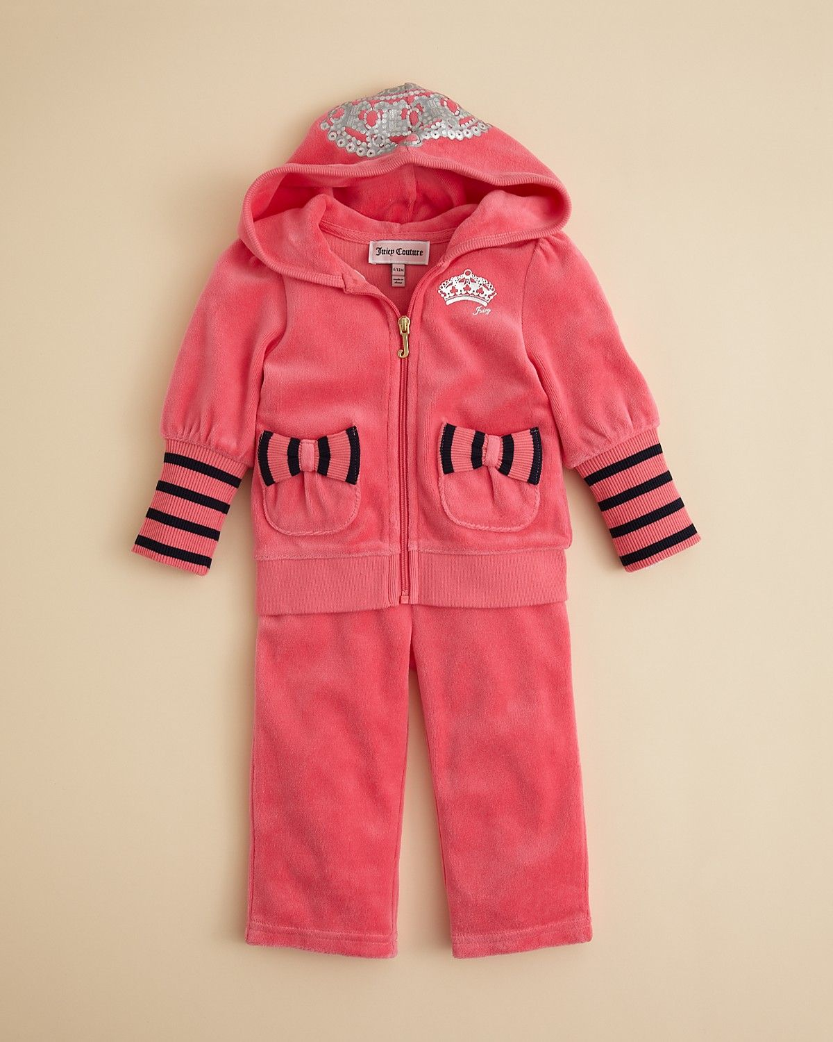 Juicy Couture Girls' Hooded Tiara Print Hoodie & Pants - Sizes 3-24 Months | Bloomingdale's