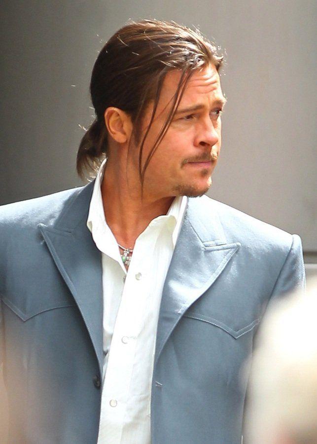 Brad Pitt Long Hair Ponytail