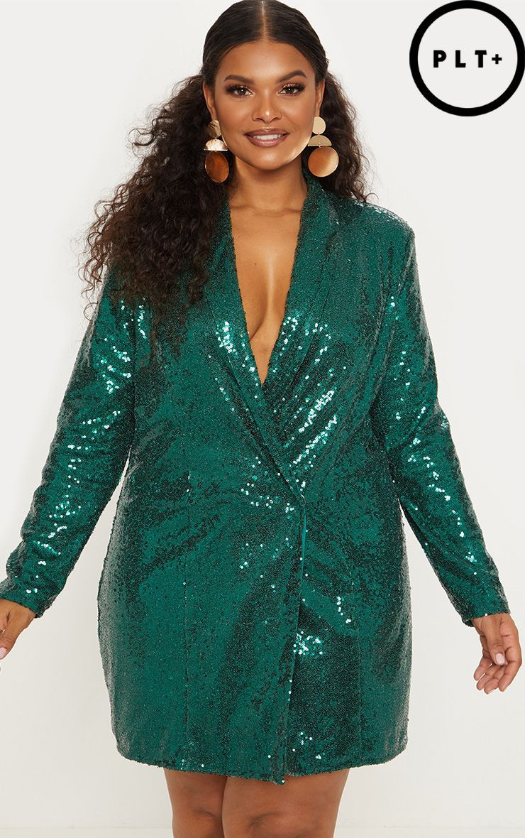 86d8c564 Plus Emerald Green Sequin Blazer DressGet party season ready with this  show-stopping blazer dress.