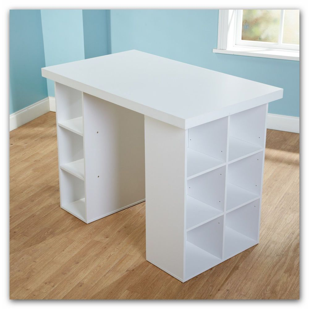 Sewing Table Craft Shelves Quilting Bins Stitch Machine Desk White