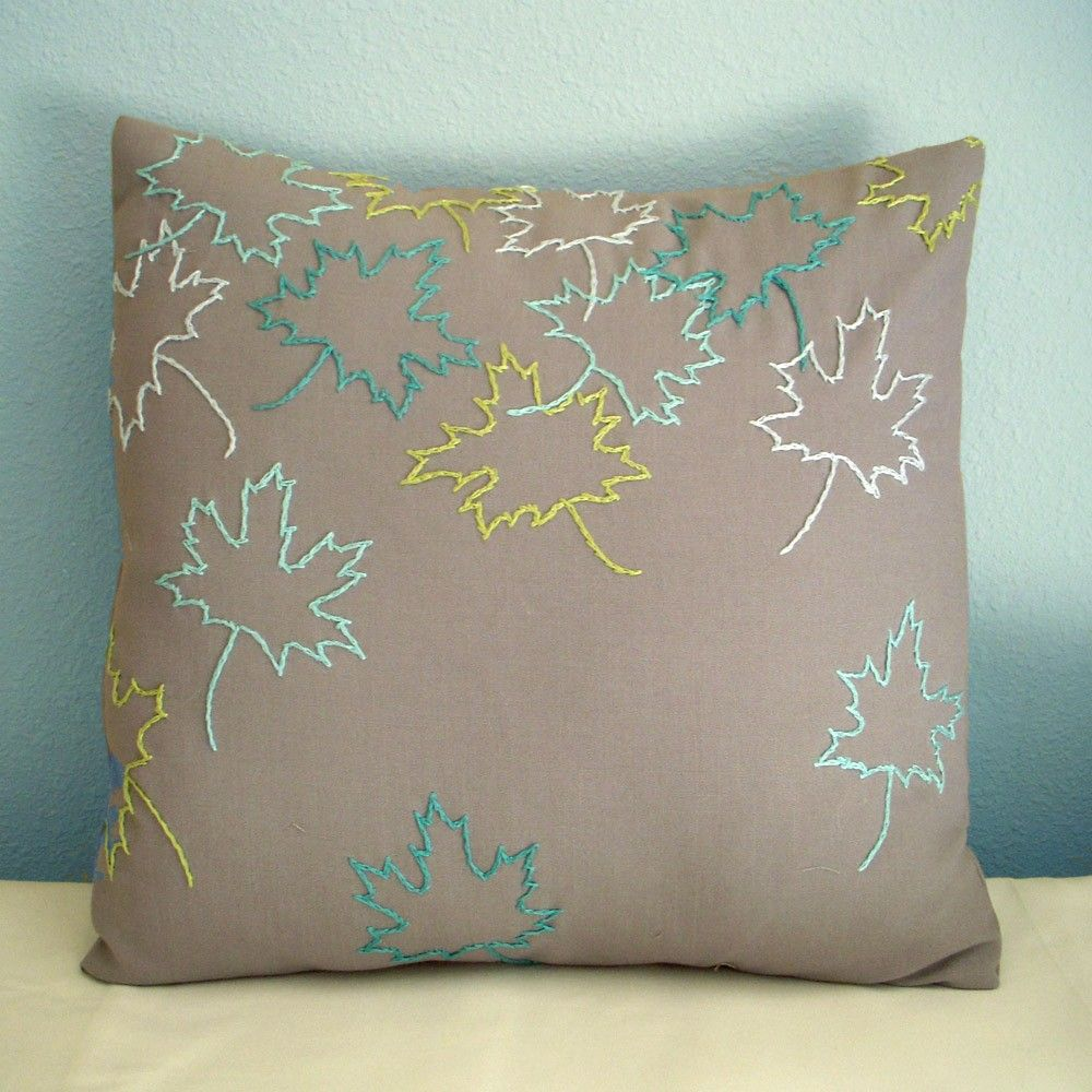 Fall leaves grey pillow cover via etsy sewing pillows