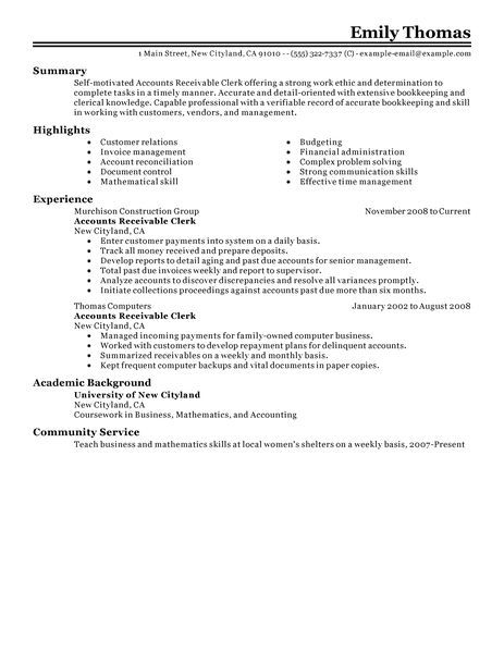 Accounts Receivable Clerk Resume Examples Doc Accounting