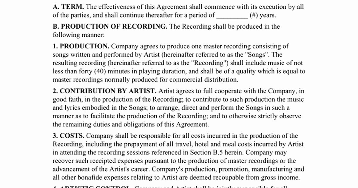 Sample Record Label Contract In 2020 Photography Pricing Guide
