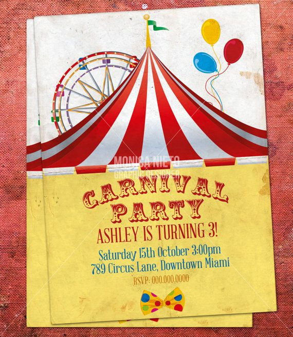 Custom Printable Carnival Circus Birthday Invitation Retro Circus – Free Printable Carnival Birthday Invitations