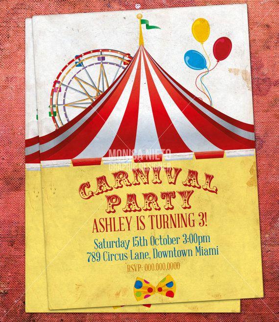 Custom Printable Carnival Circus Birthday Invitation Retro Circus