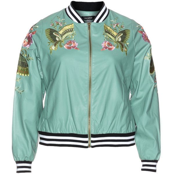 Anna Scholz Mint / Versicolour Plus Size Satin embellished bomber ($230) ❤ liked on Polyvore featuring outerwear, jackets, mint, plus size, green sport jacket, bomber jacket, embellished jacket, sports jacket and satin sports jackets